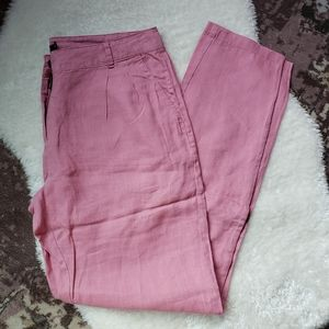 French pink linen pants